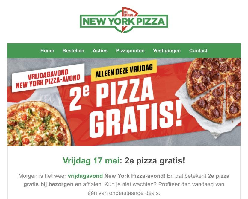 2e pizza gratis zowel bestellen als afhaal