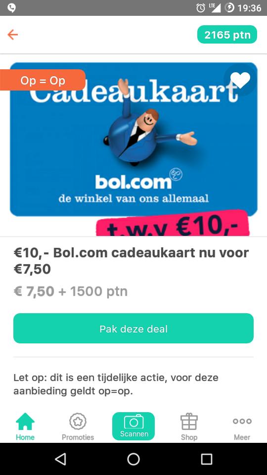 10 € bol.com cadeaukaart voor 7,50€ + 1500 punten Tessa