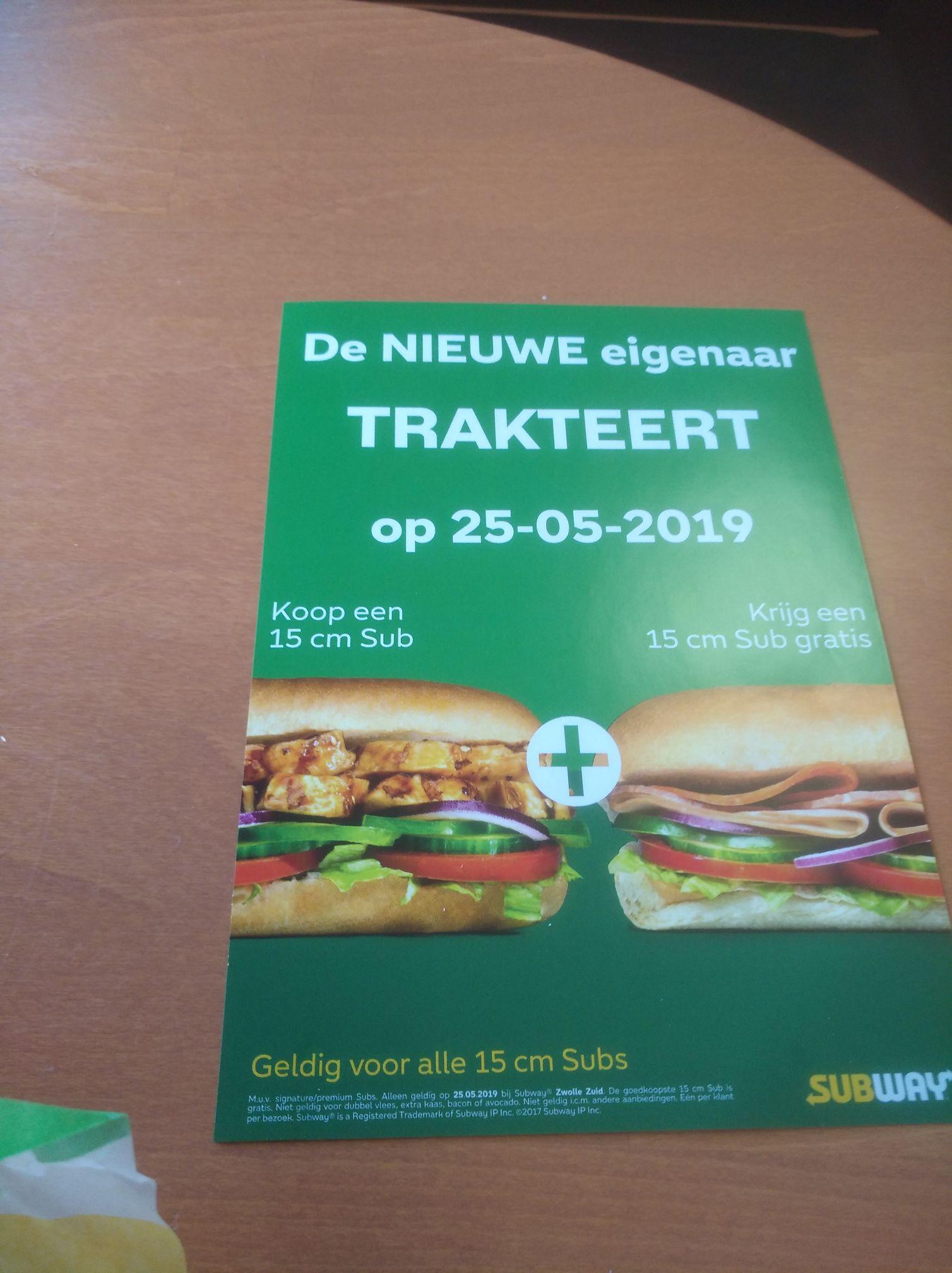 Subway Zwolle Zuid, broodjes 1+1 gratis op zaterdag 25 mei