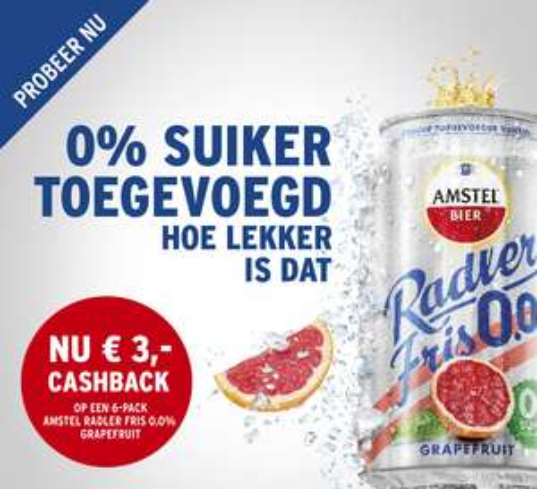 €3,- cashback op Amstel Radler Grapefruit Fris 0.0 @ Jumbo & PLUS