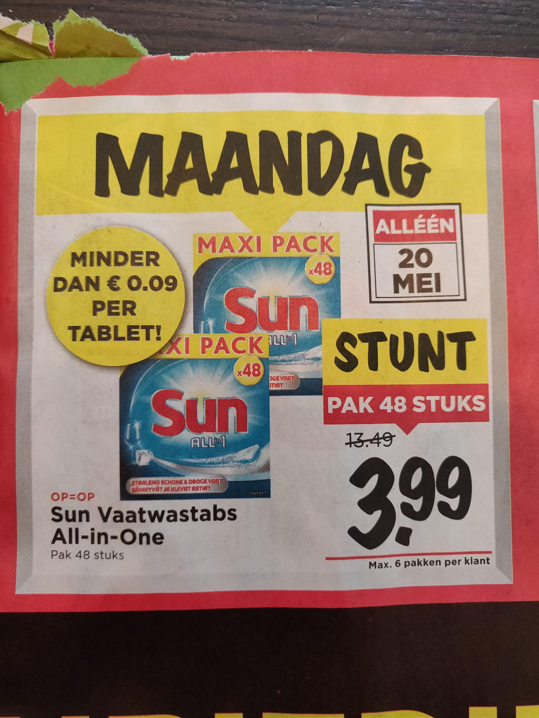 Sun All in 1 voor 3,99 voor 48 stuks! @Vomar