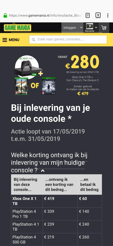 Game Mania Inruilactie Xbox one X (VANAF 60 euro bijbetaling!)