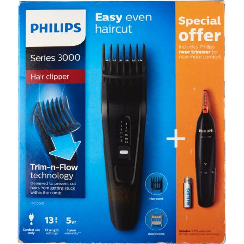 Philips tondeuse HC3510 met gratis neushaartrimmer voor €14.99 bij Dirk