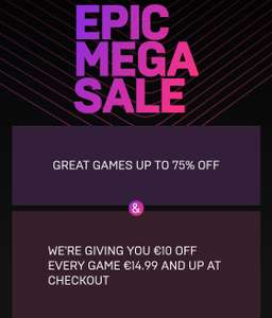 Epic Mega Sale tot -75% +€10 tegoed +Cashback op aankopen tussen 2 en 15 mei  @ Epic Games Store