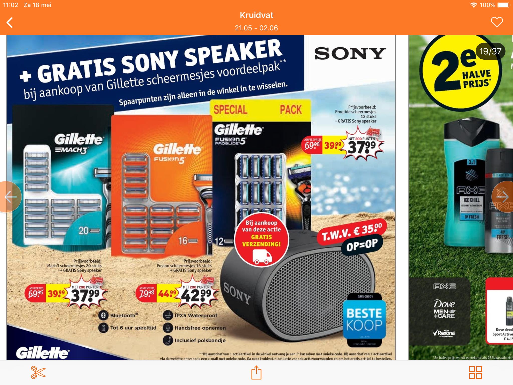 Gratis Sony speaker bij Gilette voordeelpak scheermesjes bij het kruidvat