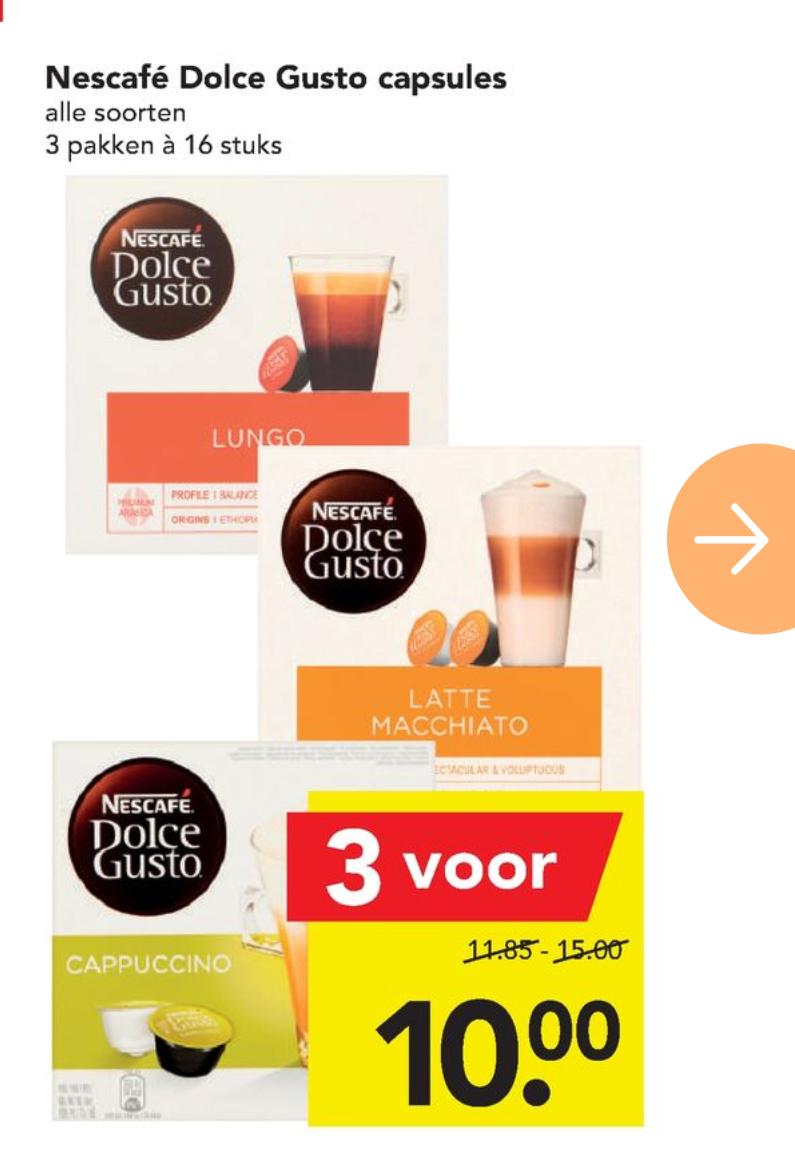 3 pakken Dolce Gusto (16 capsules) voor €10 bij Deen