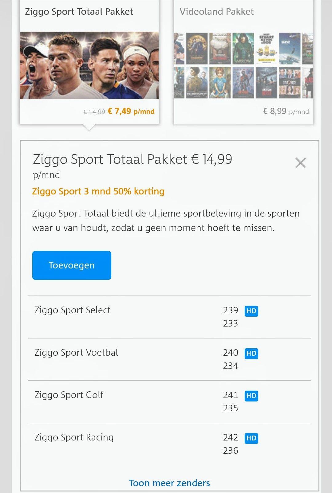 3 maanden 50% korting op Ziggo Sport Totaal bij KPN