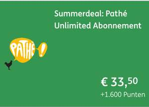 Summerdeal: Pathé Unlimited Abonnement 33,50 1600 pnt @Ing winkel