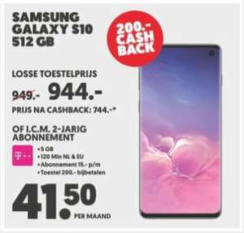 Samsung Galaxy Cashback actie oa. S10 (vanaf 24-5)