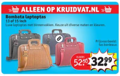 Bombata laptoptassen €32,99 tot €37,99 @ Kruidvat