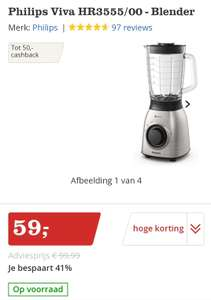 Philips blender 900 watt / 2L (15 euro cashback)