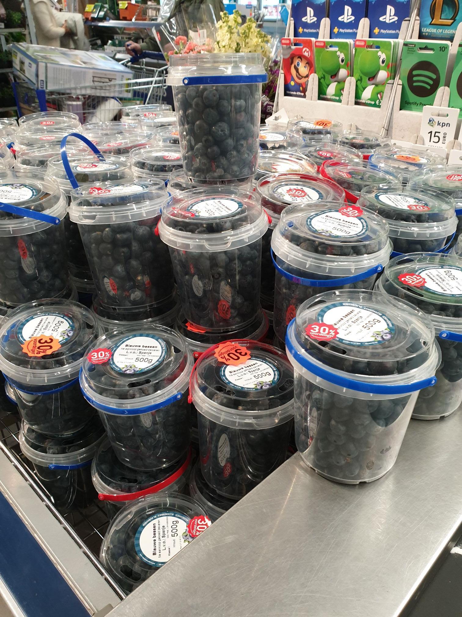 Aldi blauwe bessen 500 gram €2.49 -30% = €1.74