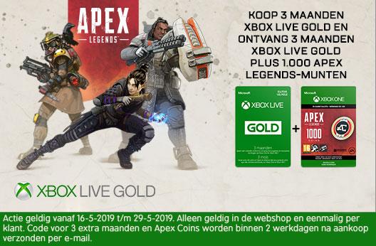 Xbox Live Gold 3 maanden + 3 Maanden extra + Apex Legends 1000 Coins