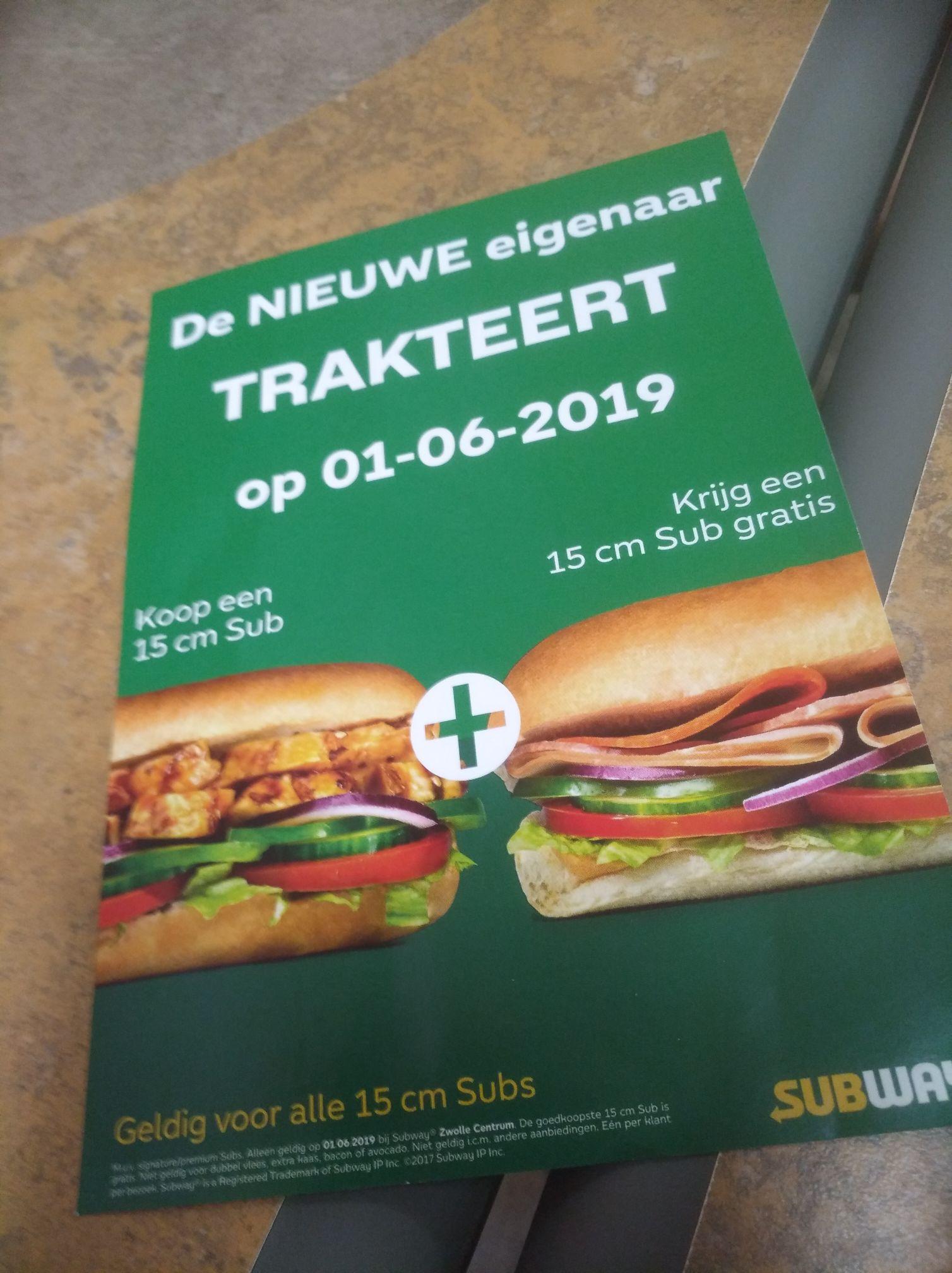 Subway Zwolle centrum subs 1+1 op 1 juni