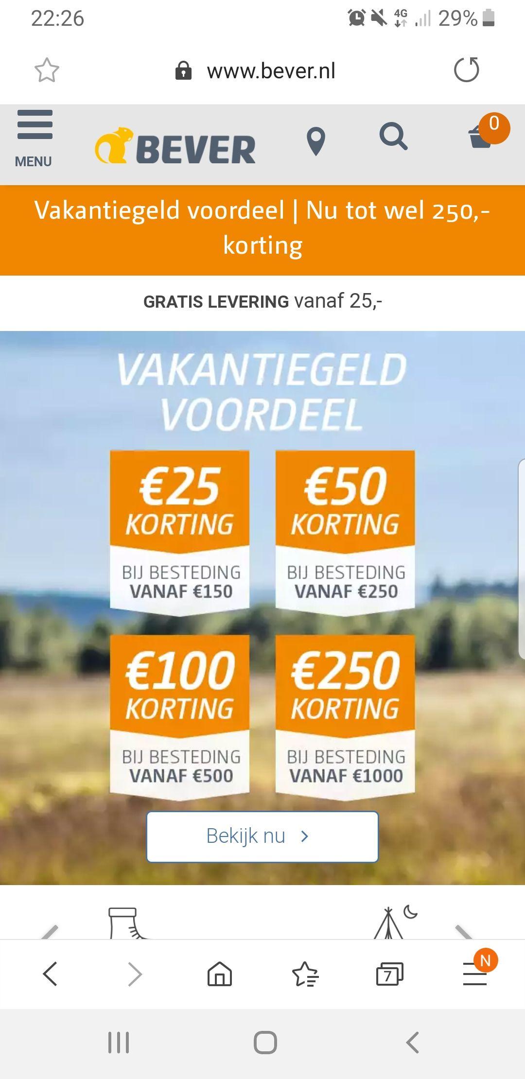 Extra korting (25 tot 250 euro) op vrijwel alles bij Bever, ook op aanbiedingen en sale!