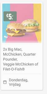 2 keer Veggie MC-chicken, Big Mac, Quarter pounder of Filet-o-fish voor €5