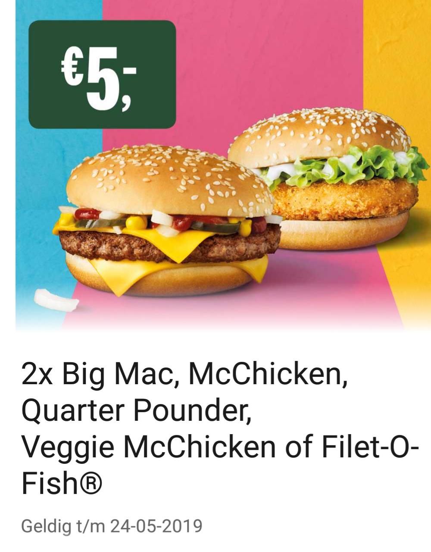 2 keer Veggie MC-chicken, Big Mac, Quarter pounder of Filet-o-fish voor €5
