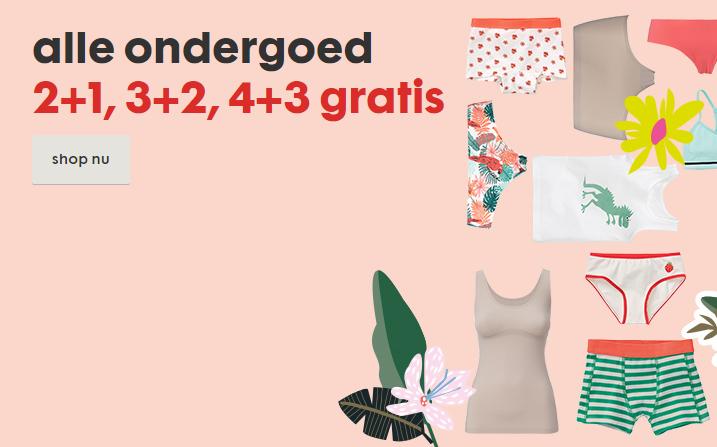 Alle ondergoed 2+1 gratis, 3+2 gratis en 4+3 gratis bij HEMA winkels en hema.nl