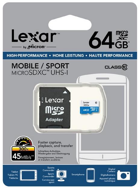 Lexar 64GB High Performance Micro SDXC UHS-I Card 300x met adapter voor €19,57 @ MyMemory.de