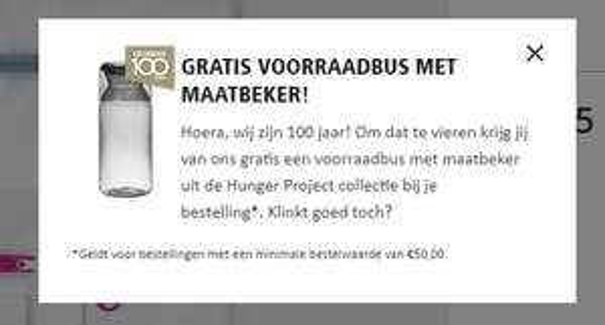Gratis voorraadbus met maatbeker bij een bestelling vanaf €50 bij Brabantia