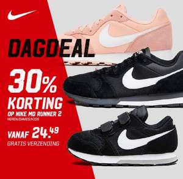 Nike MD Runner -30% + 10% extra (va €22,04) + gratis verzending @ Aktiesport