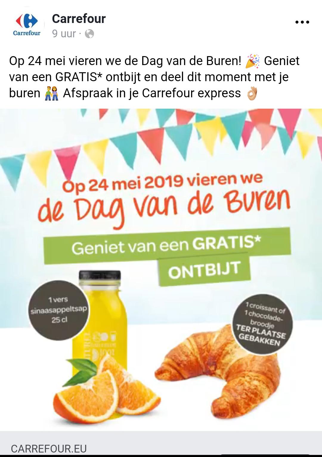 [Grensdeal België] Gratis ontbijt bij Carrefour express