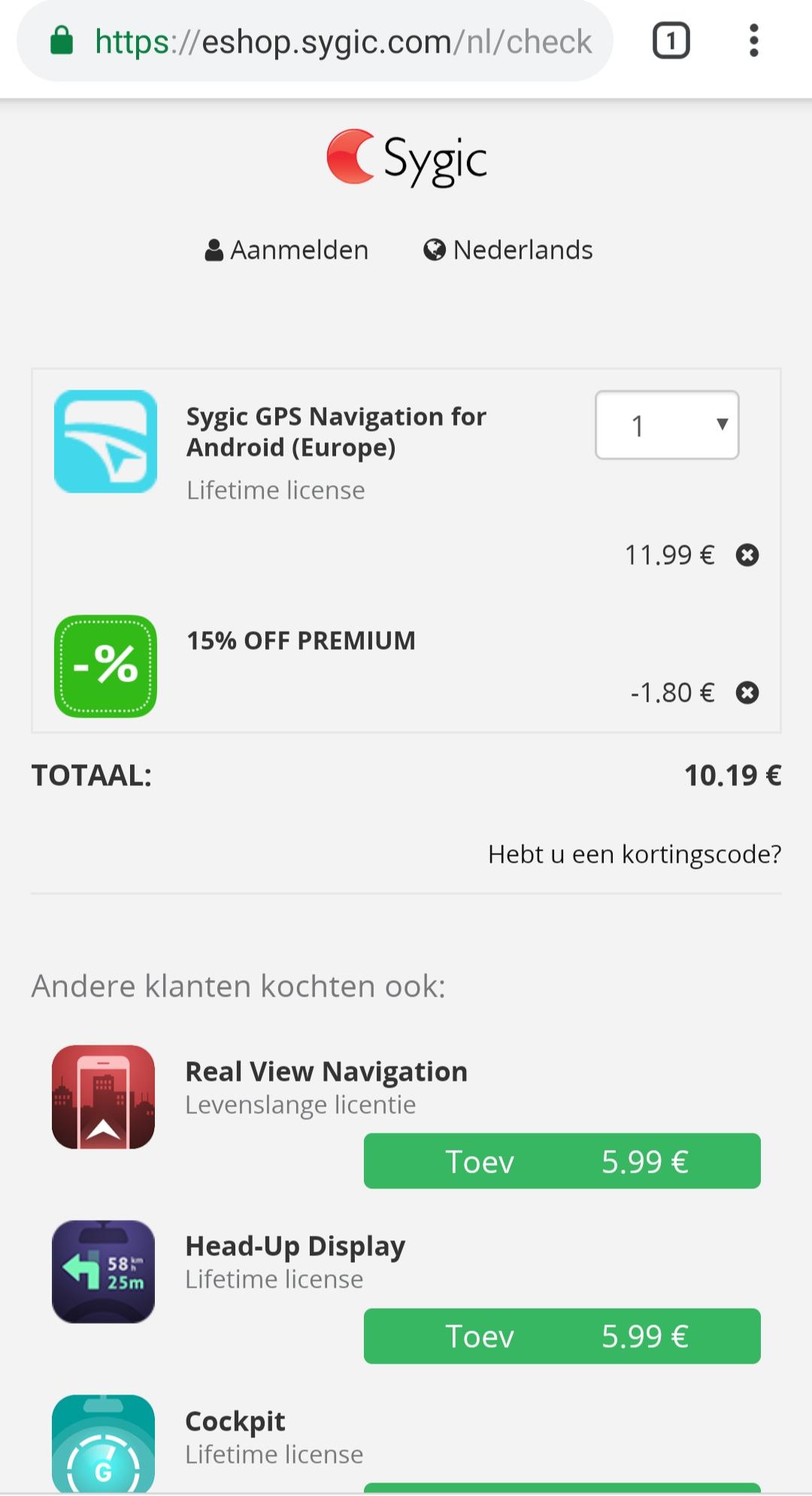Nog eens 15% extra korting op Sygic Android producten