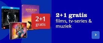 2+1 gratis op films, tv-series en muziek
