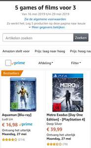 5 halen 3 betalen op ps4 / x1 games en blu-ray films @amazon.de
