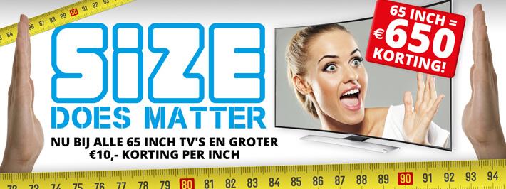 €10,- korting per inch op alle 65 inch televisies en groter uit 2015 @ Klein