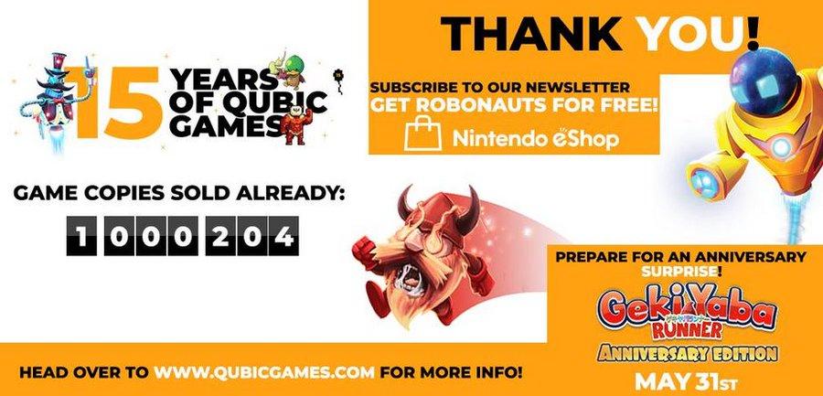 Robonauts en Geki Yaba Runner Anniversary gratis voor Nintendo Switch (Noord-Amerika account) @ Qubic Games