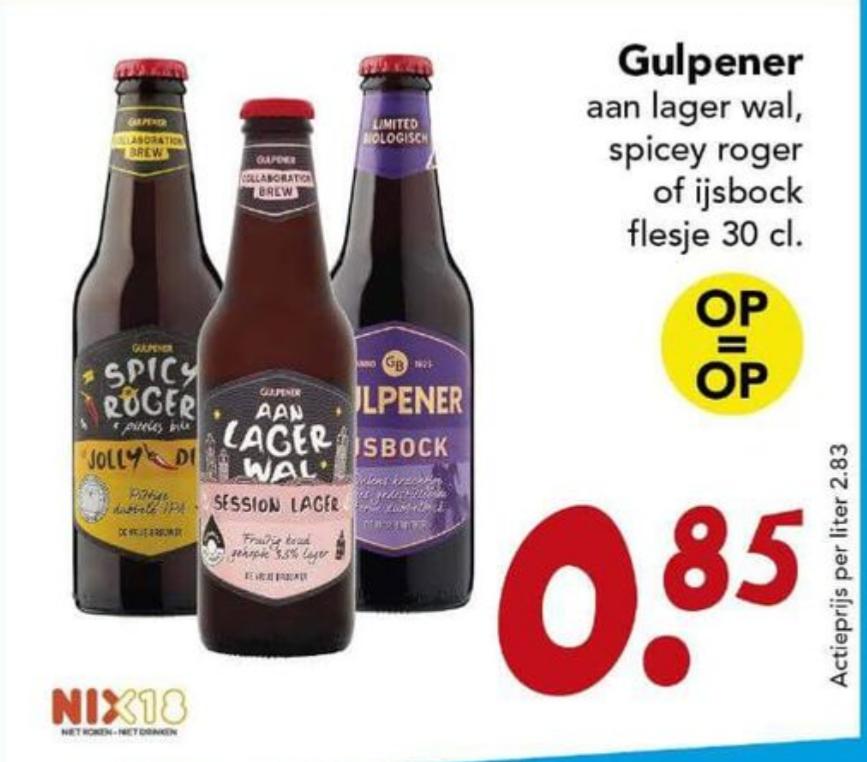 Gulpener IJsbock, Spicy Roger & Aan lager wal voor €0,85 bij Deen (+-50% korting)