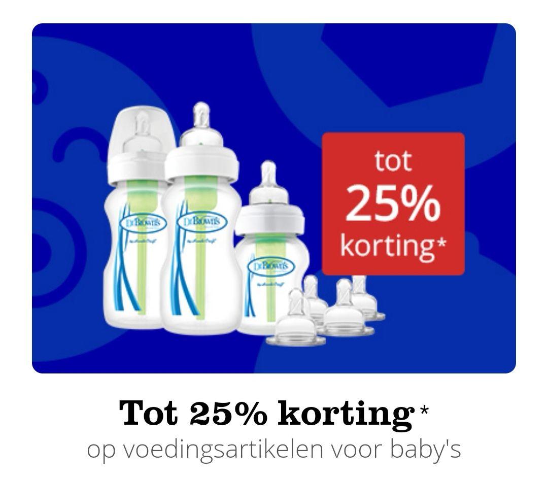 Tot 25% korting op Dr. Brown's en andere babyvoedingsartikelen