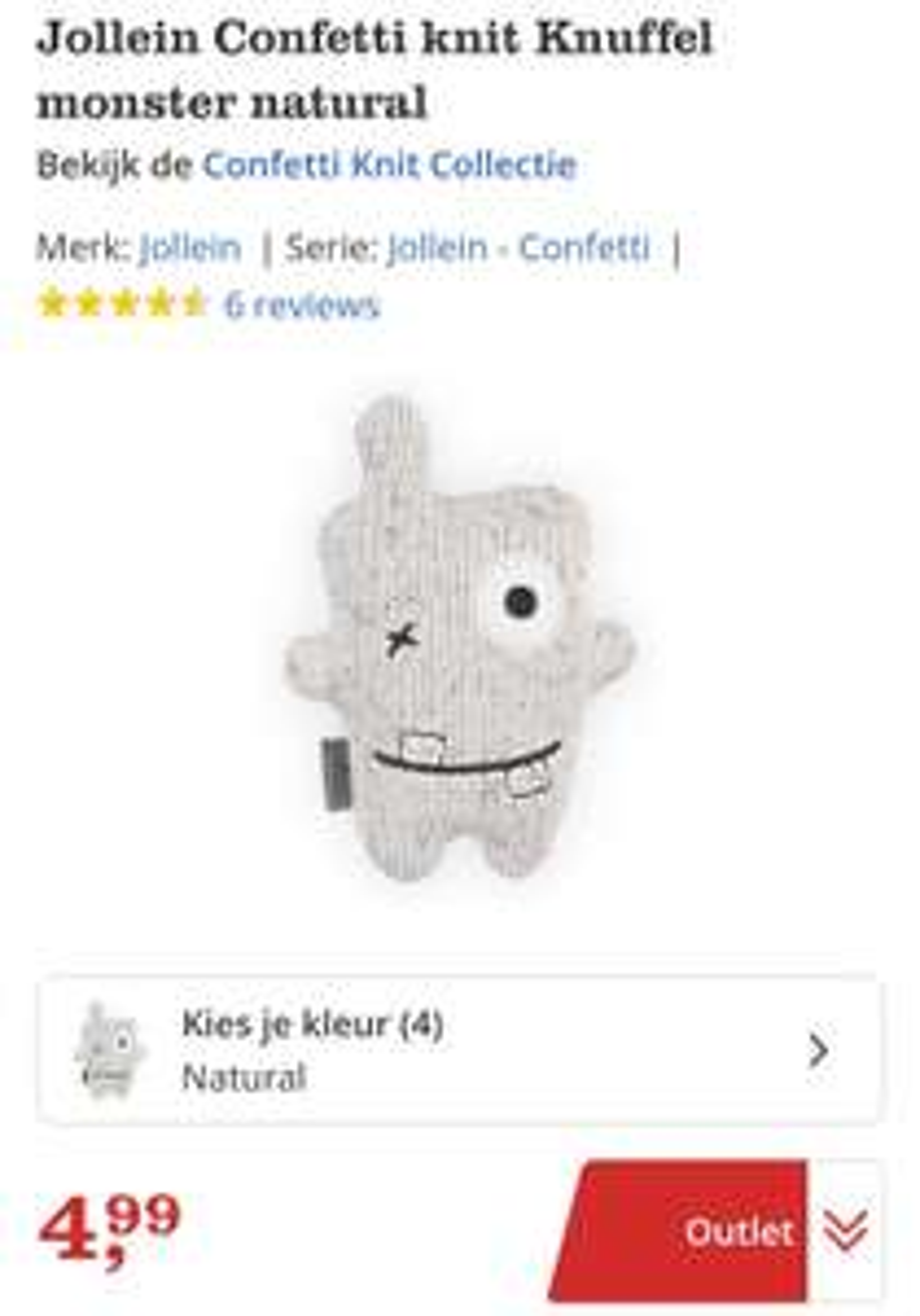 Jollein Confetti knit knuffel van €12,99 voor €3,99