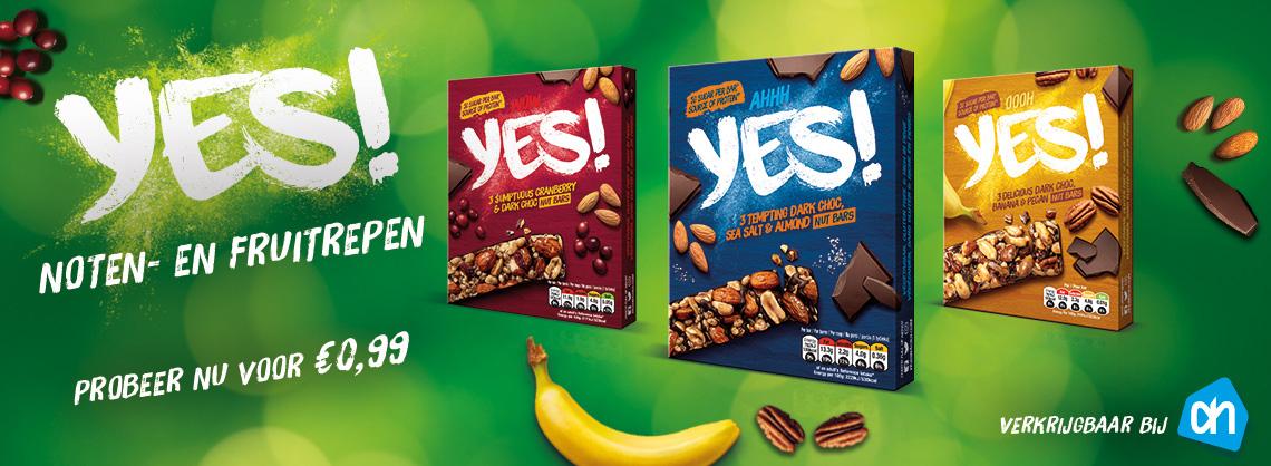 YES! noten- en fruitrepen probeer nu voor €0,99 (alleen bij AH) €2 retour