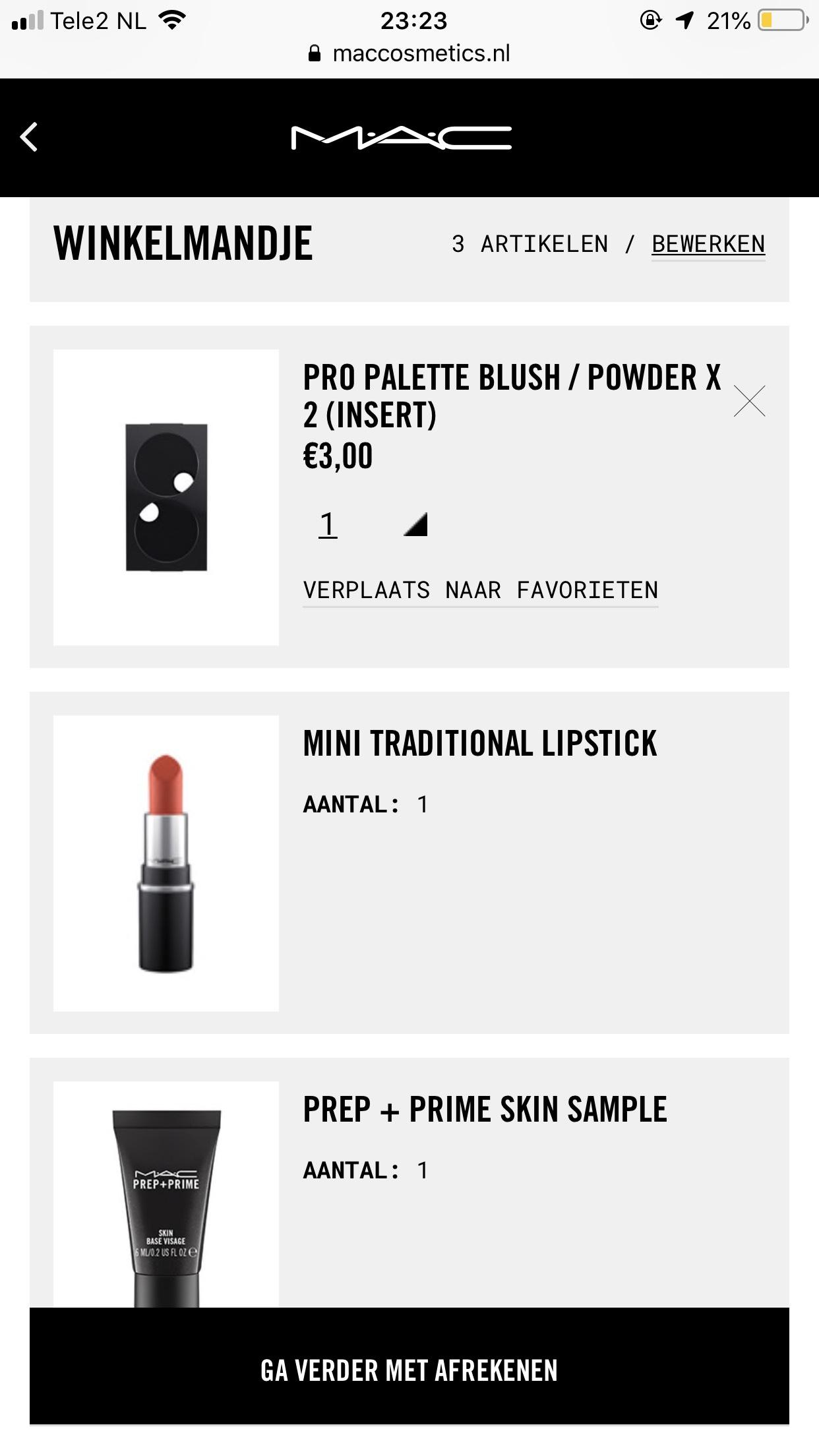 gratis MAC mini lippenstift & primer bij aankoop palette €3