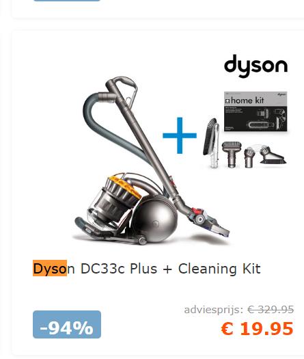[PRIJSFOUT] Dyson DC33c Plus + Cleaning Kit @ iBOOD