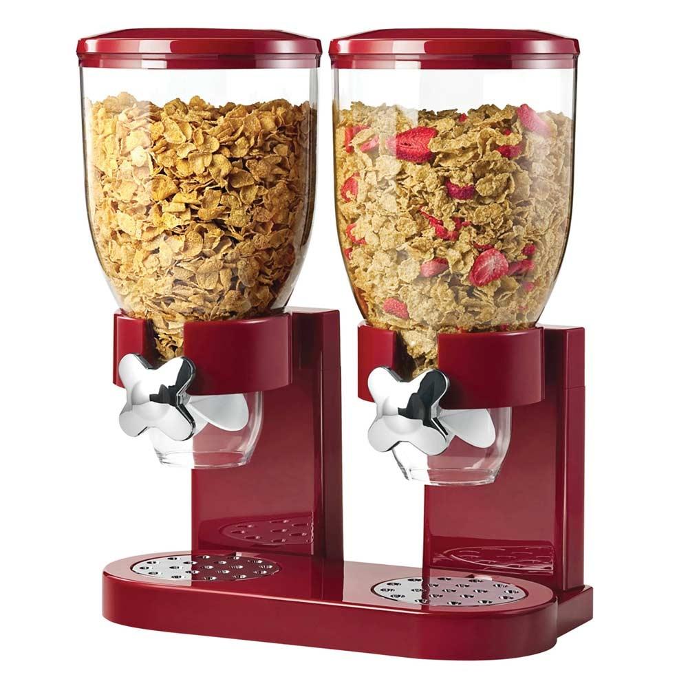 Dubbele Cornflakes Dispenser in twee kleuren verkrijgbaar