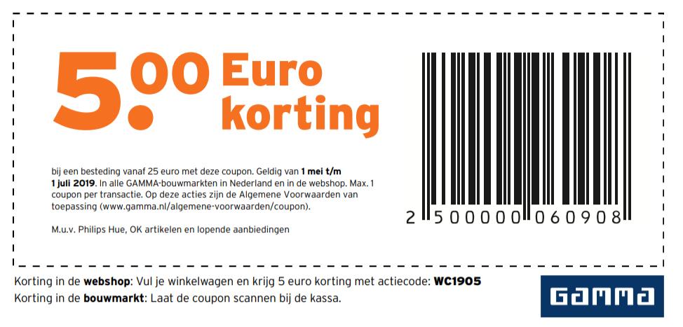 Gamma €5 korting (1 mei t/m 1 juli 2019)