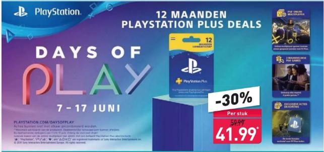 12 maanden Playstation Plus voor €41,99 @ Aldi vanaf 8 juni (Days of Play 2019)