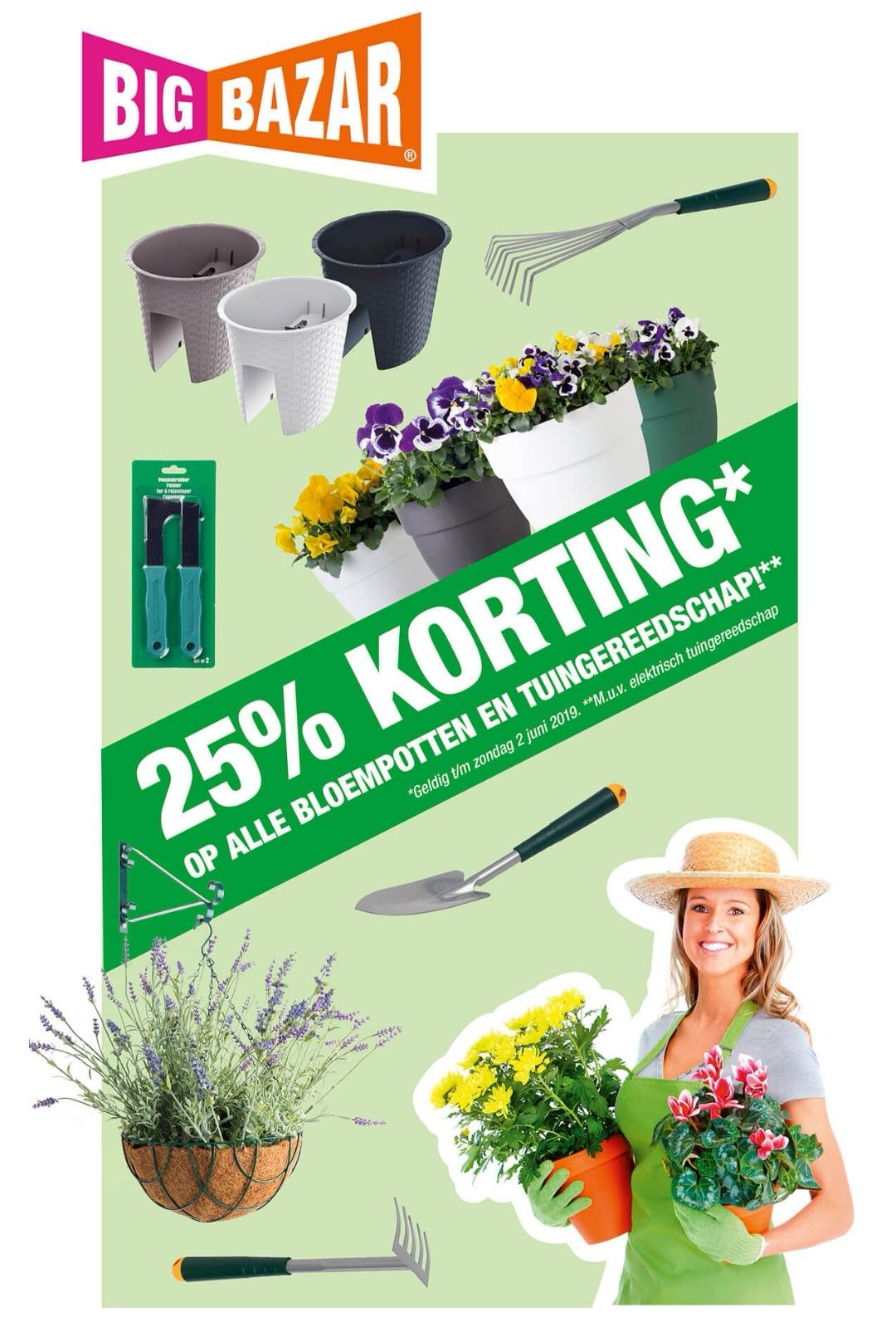 25% korting op alle bloempotten en tuingereedschap
