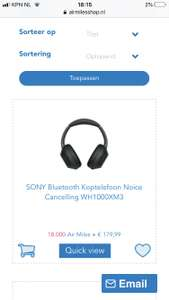 Sony WH1000XM3 voor €179,- + 18000 airmiles