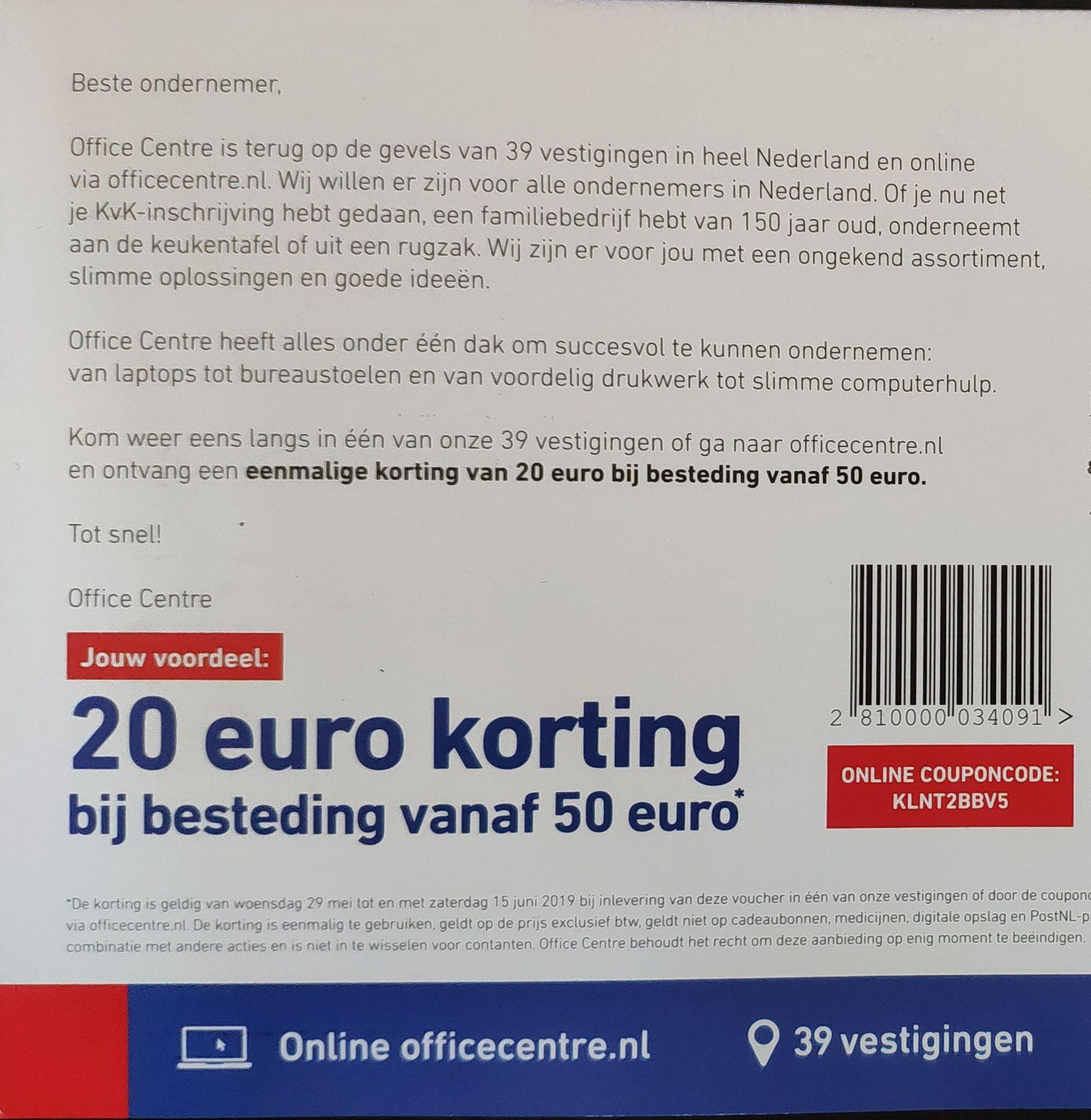OfficeCentre | 20 euro korting bij besteding van 50 euro