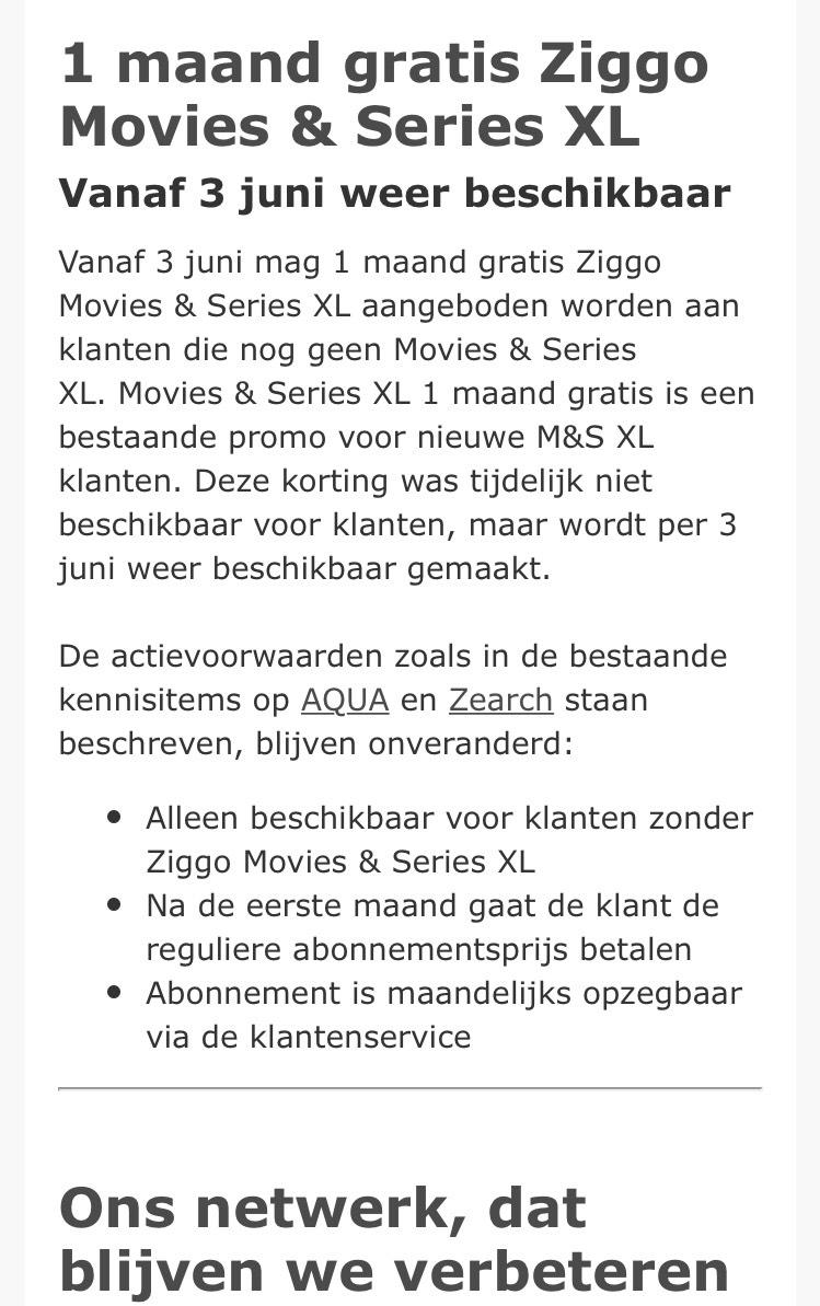 1 maand Gratis Movies en Series XL voor Ziggo klanten !