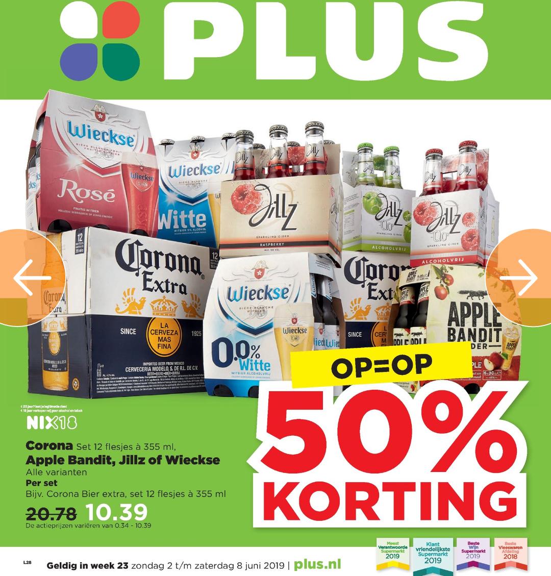 50% korting op Corona, Wieckse, Jillz & Apple Bandit @Plus