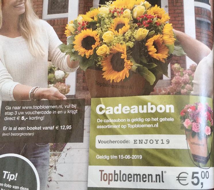 5 euro korting bij Topbloemen.nl
