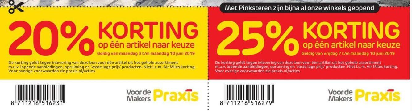25% korting met Pinksteren en 20% van 3 t/m 10 juni @Praxis