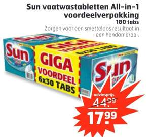 Sun All-in-1 Normal voordeelbox 180 vaatwastabletten €17,99 || Trekpleister
