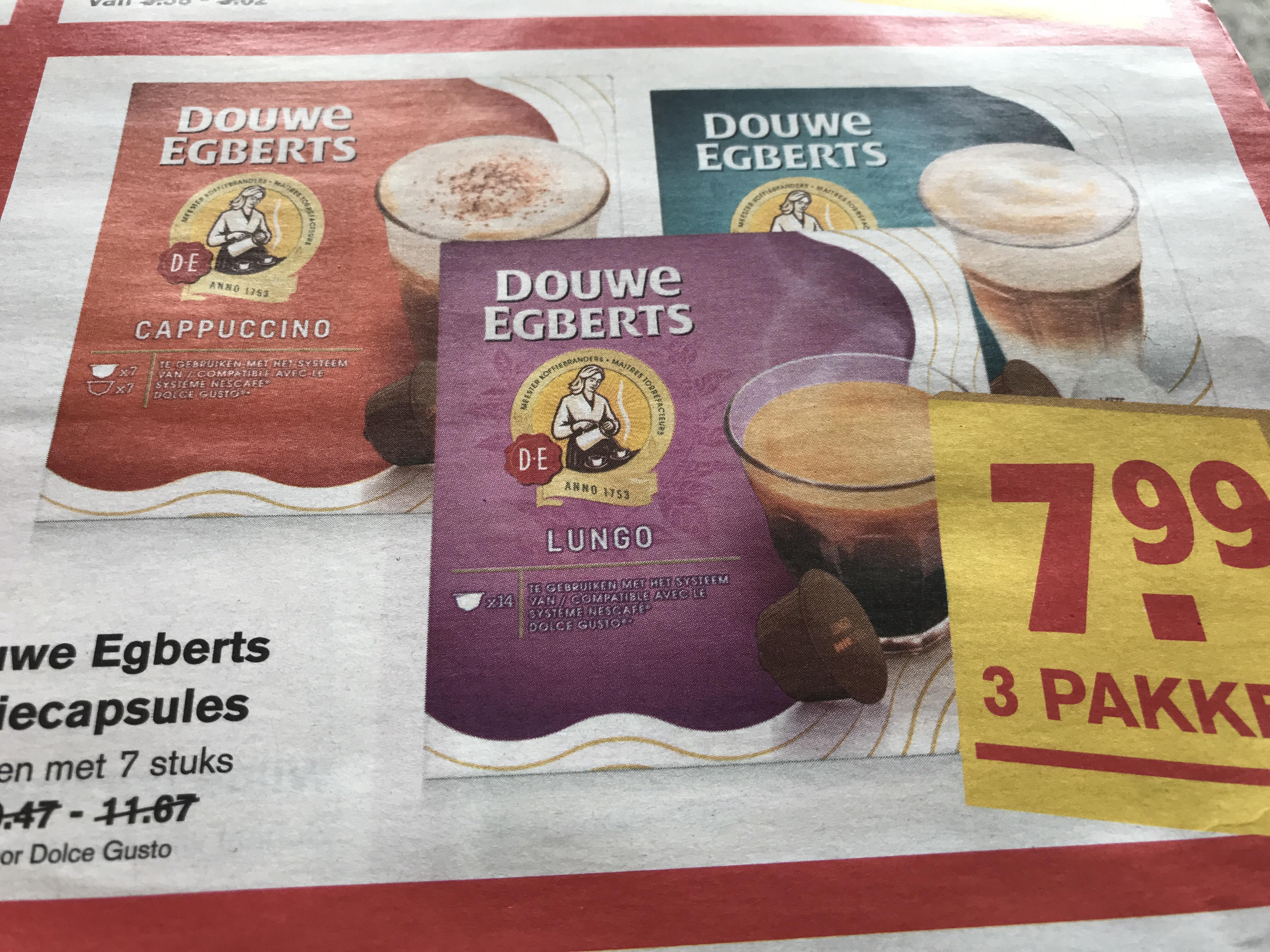 3 pakken Douwe Egberts koffiecapsules(Hoogvliet)
