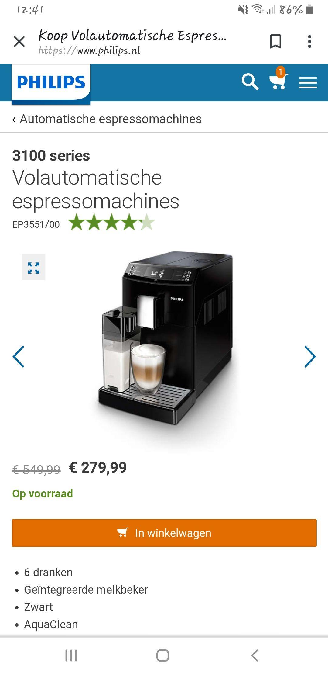 Volautomatische koffiemachine voor 279